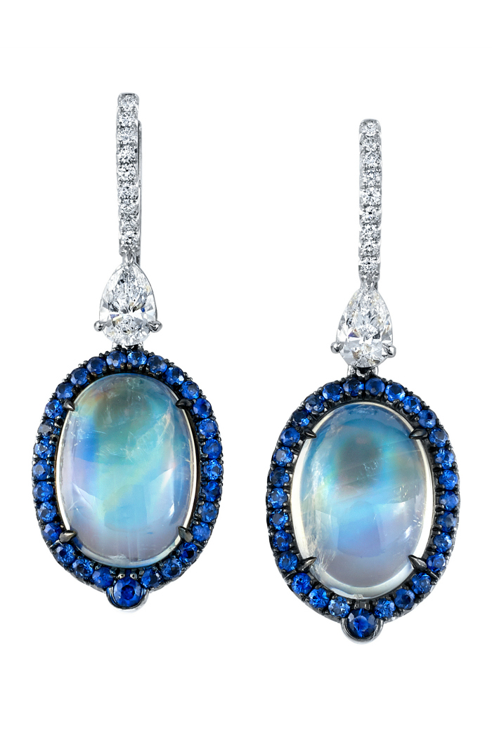 Magnificent moonstone, diamond, and blue sapphire earrings by Omi Prive!