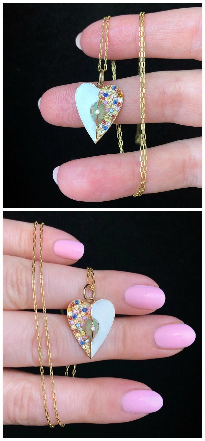 A beautiful heart necklace from Loriann Jewelry's new Unity Collection! Colorful sappphires, white enamel, and a opal in gold.