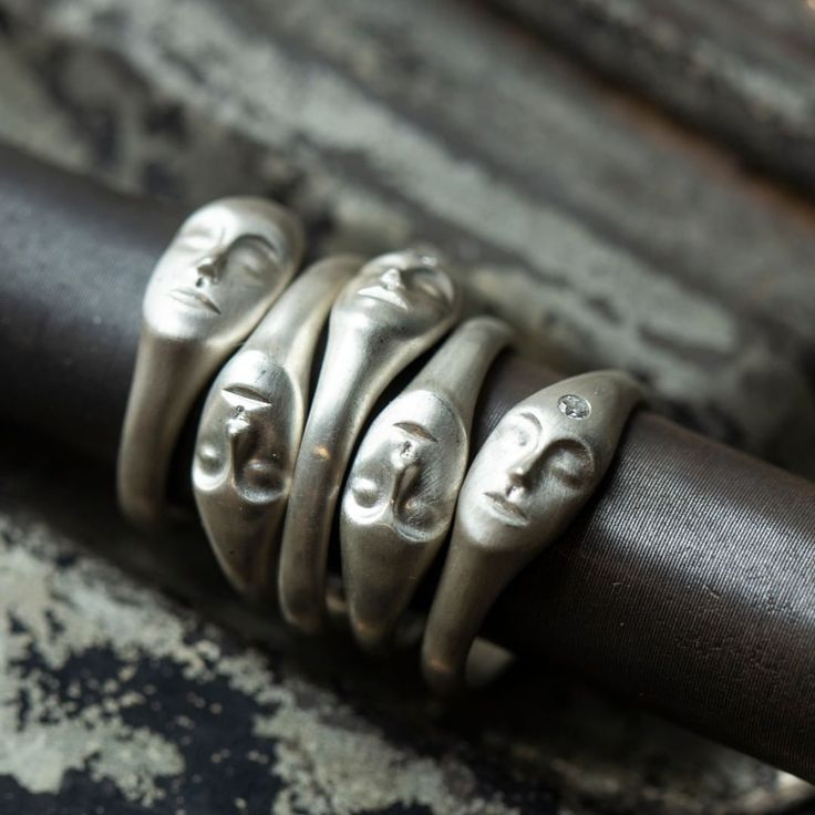 Beautiful, serene face rings by Hannah Blount Jewelry.