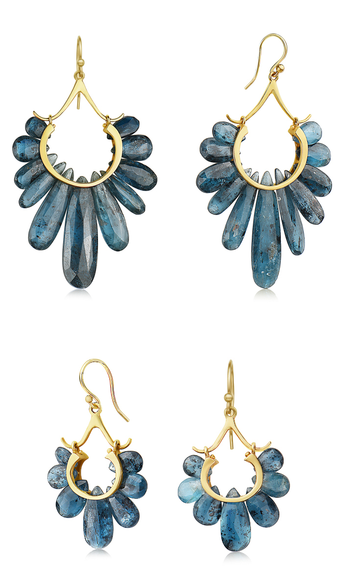 Two pairs of kyanite and gold earrings from the Rachel Atherley Peacock collection.