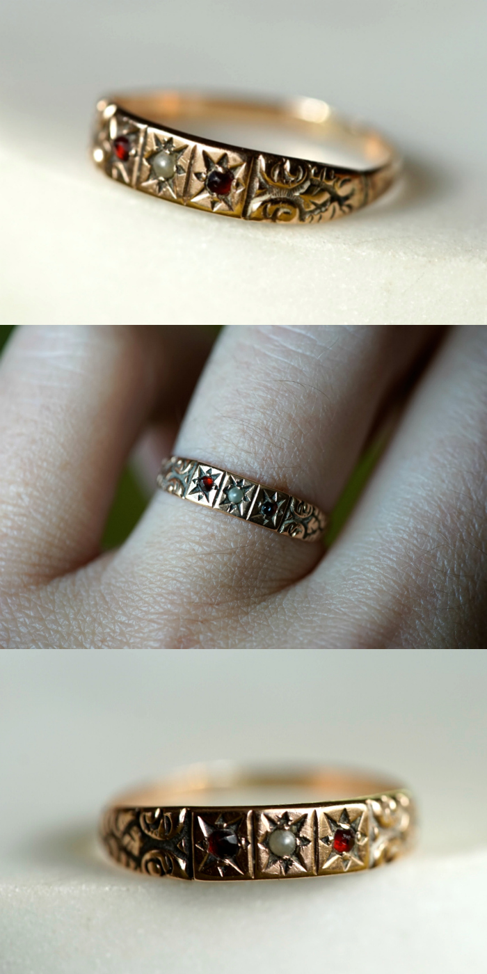 A beautifully detailed gold band ring from the Victorian era. I love vintage jewelry.