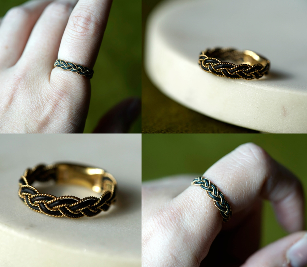 An antique Victorian era elephant hair and gold ring. From my personal jewelry collection, now for sale.