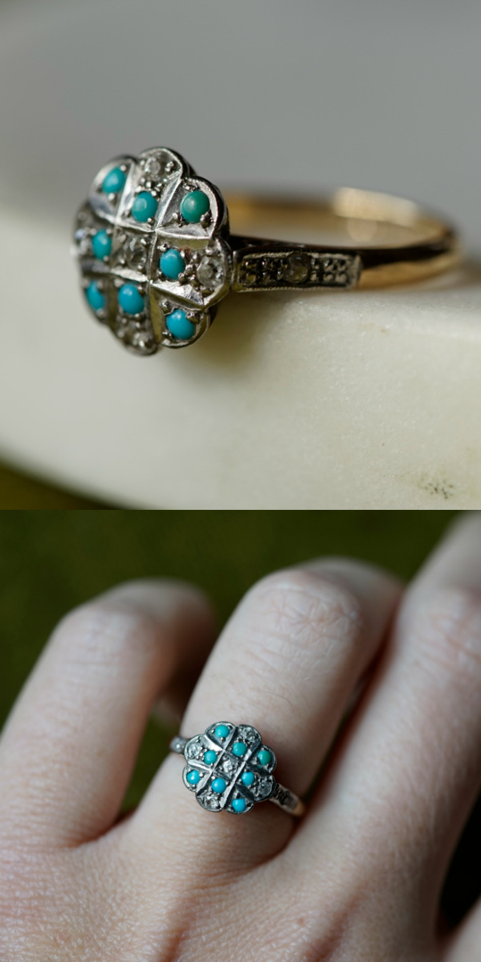 An antique ring with turquoise and diamonds in platinum topped gold. .