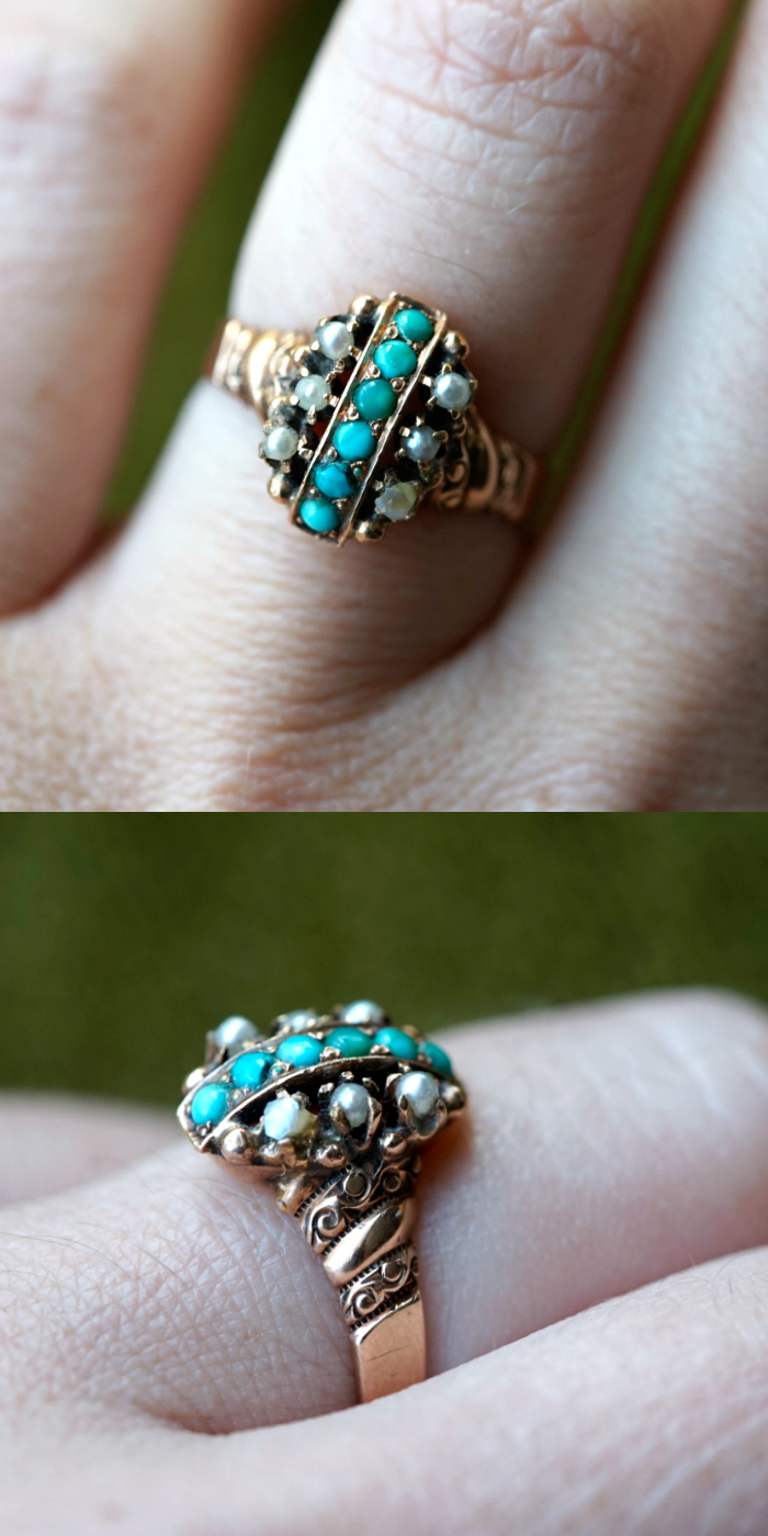 An unusual antique ring with turquoise and diamonds in rose gold. Victorian era