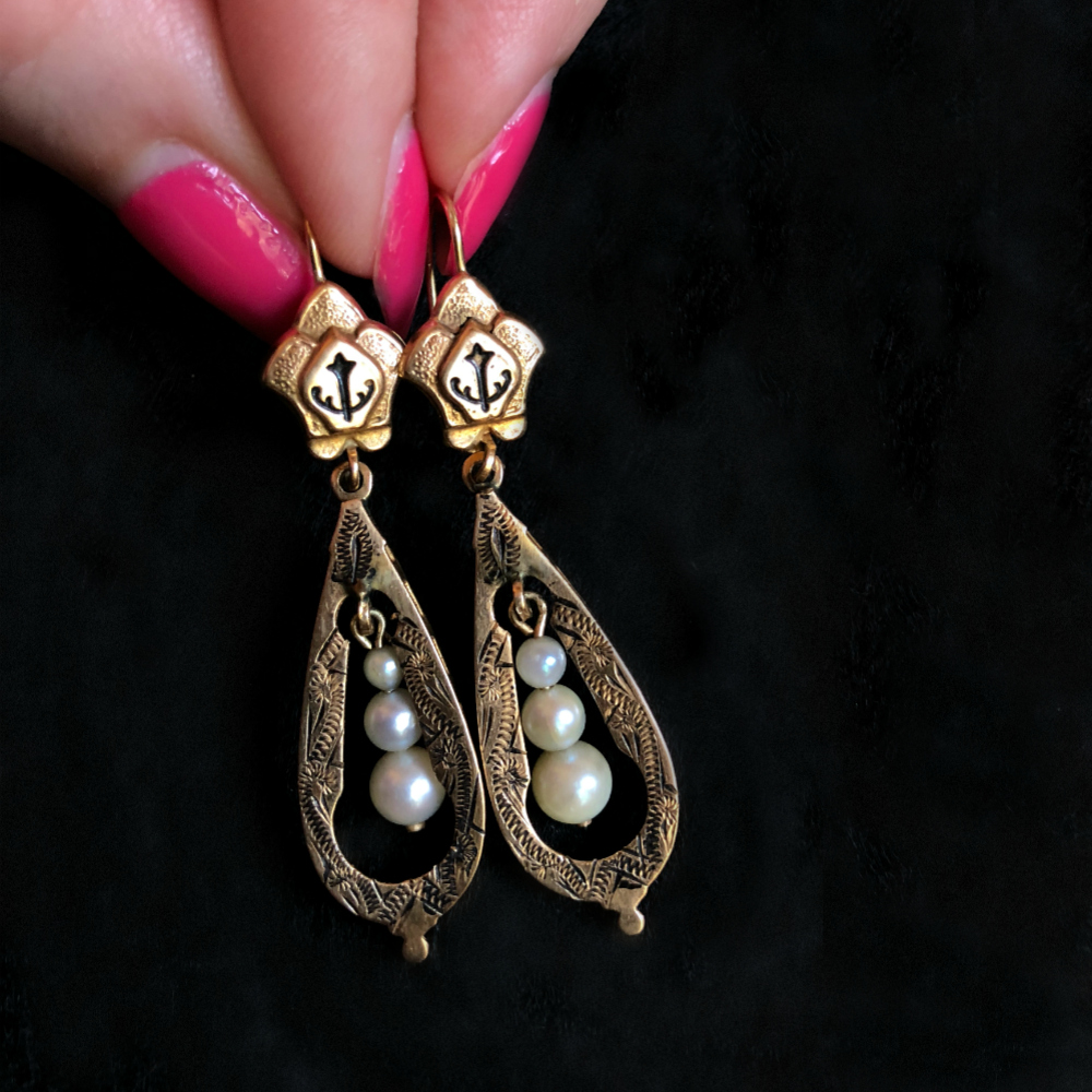 Victorian era earrings with anchor details, Taille d'Eparnge enamel, and pearls. Circa 1870.