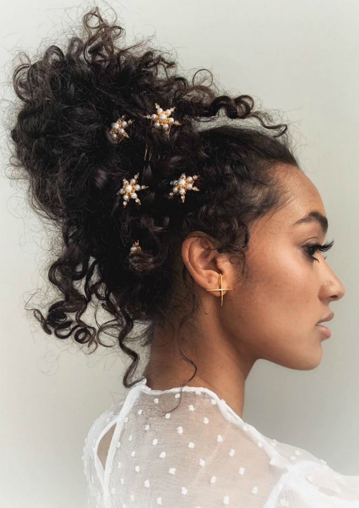 A beautiful star strewn hair jewel look from Lelet NY. Those pearl star clips are so pretty!