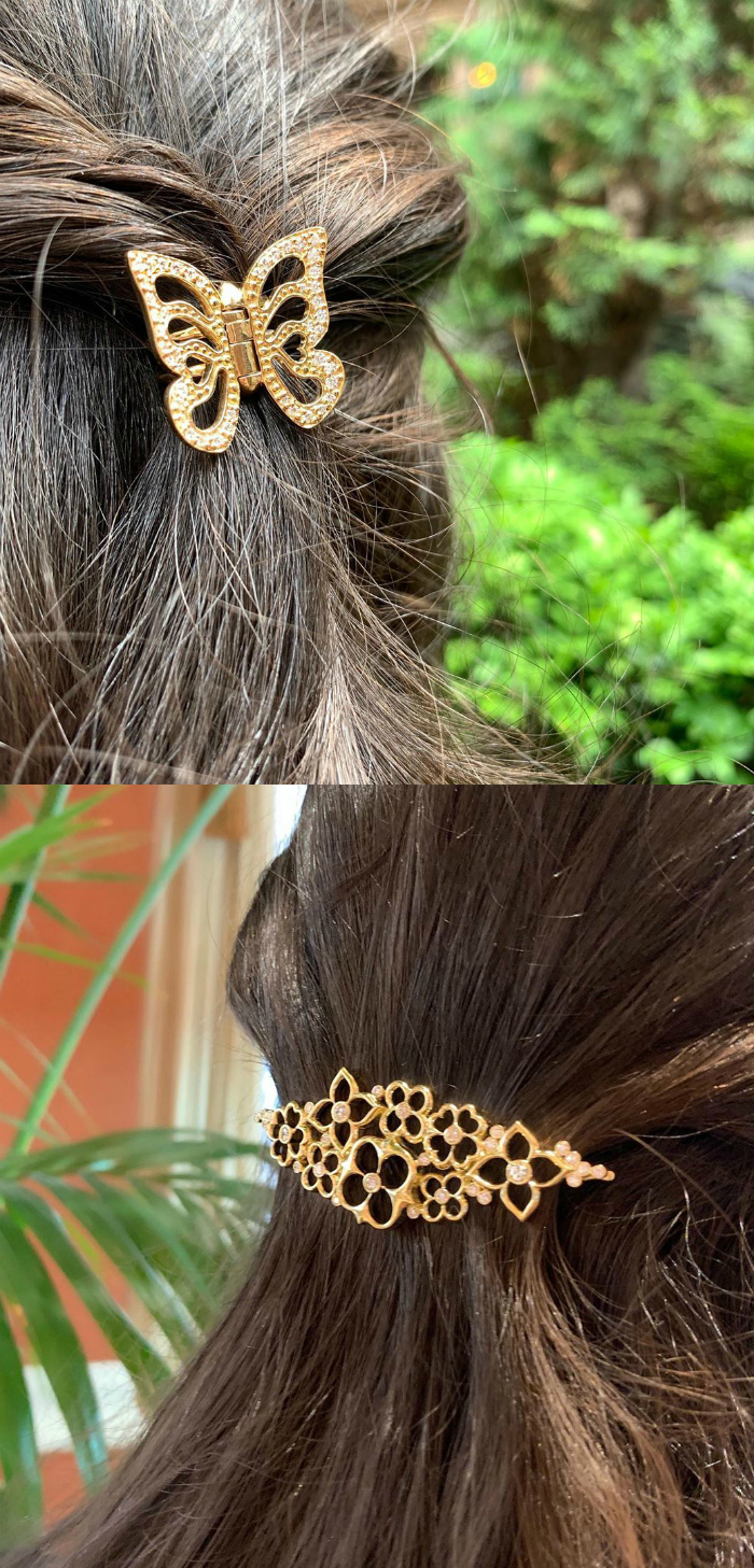 Beautiful hair clips by Gumuchian, in yellow gold with diamonds.