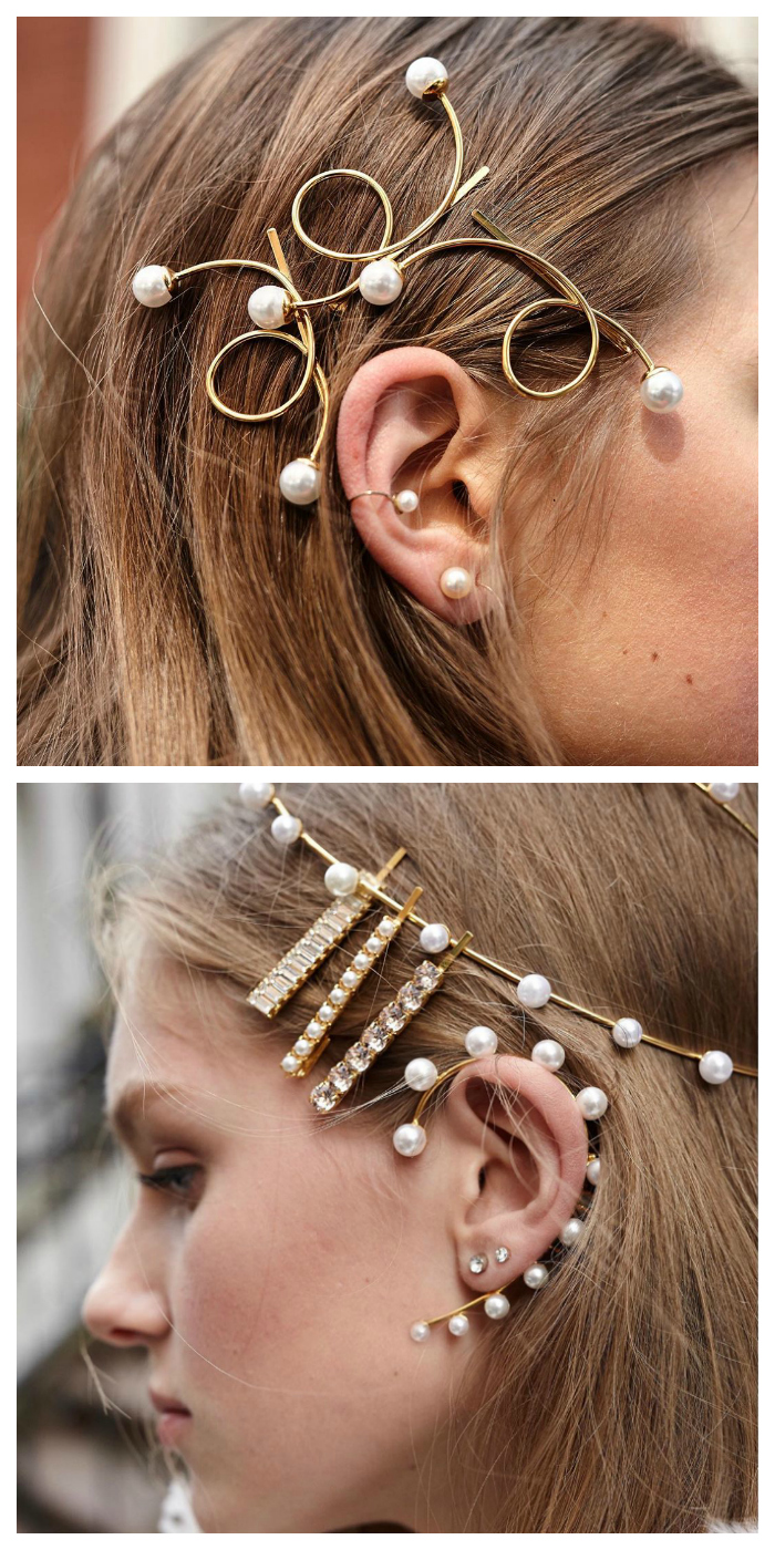 Two incredibly cool hair jewel looks by Lelet NY. I love this use of pearls!