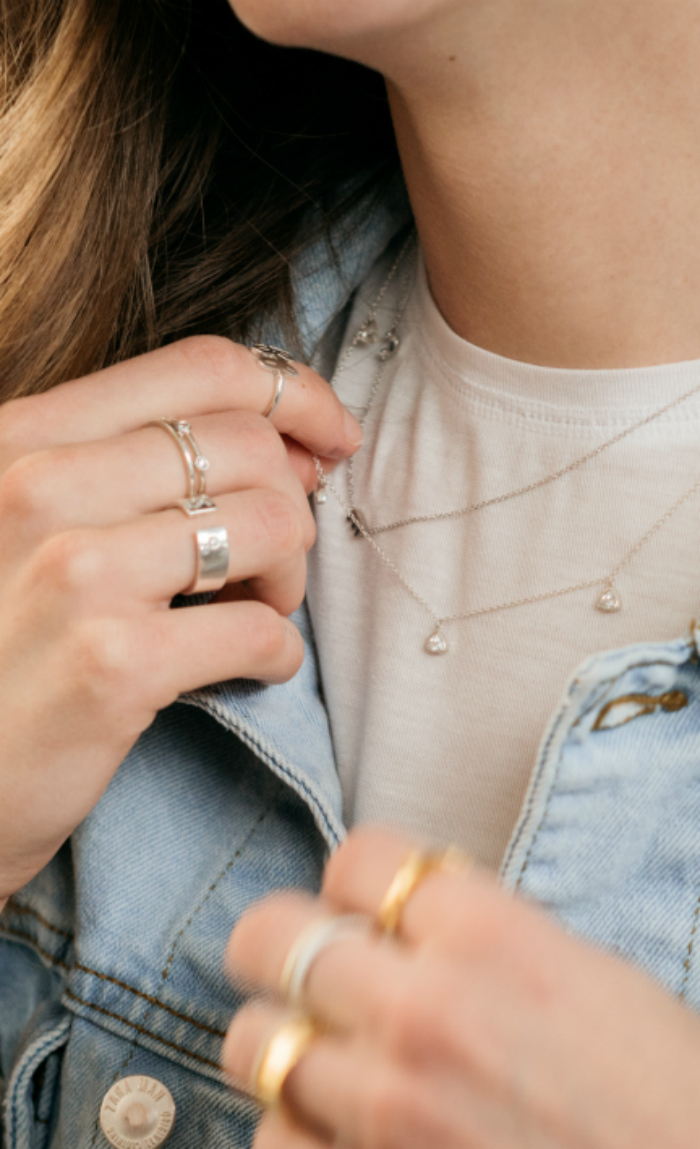 Custom jewelry from Tiary is so good for layering! You can choose metal, gemstones, length and more.