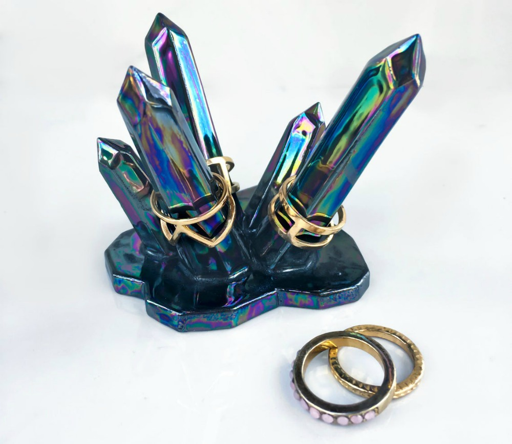 Hand painted crystal inspired ring holder by Modern Mud.