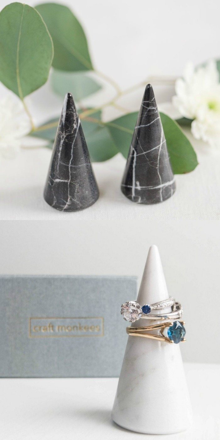 The Craft Monkees ring cone is made from Italian Carrara marble, avilable in black or white