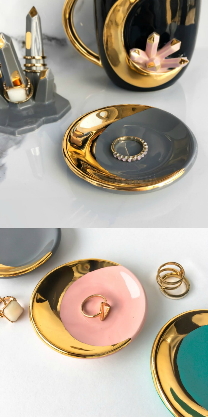These jewelry dishes from Modern Mud feature 22 karat gold and can be customized.
