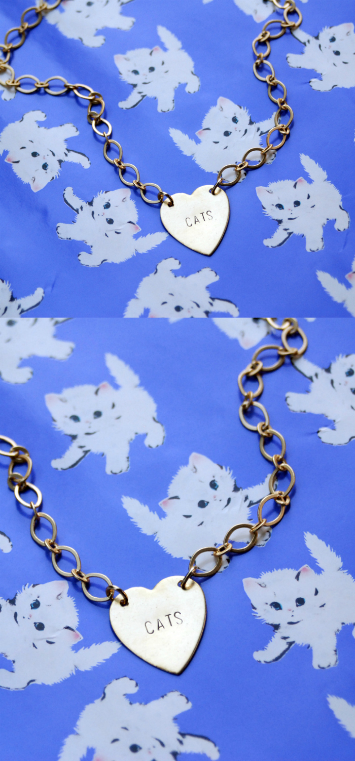 Custom heart CATS necklace by Bang-Up Betty. Perfect for cat lovers!