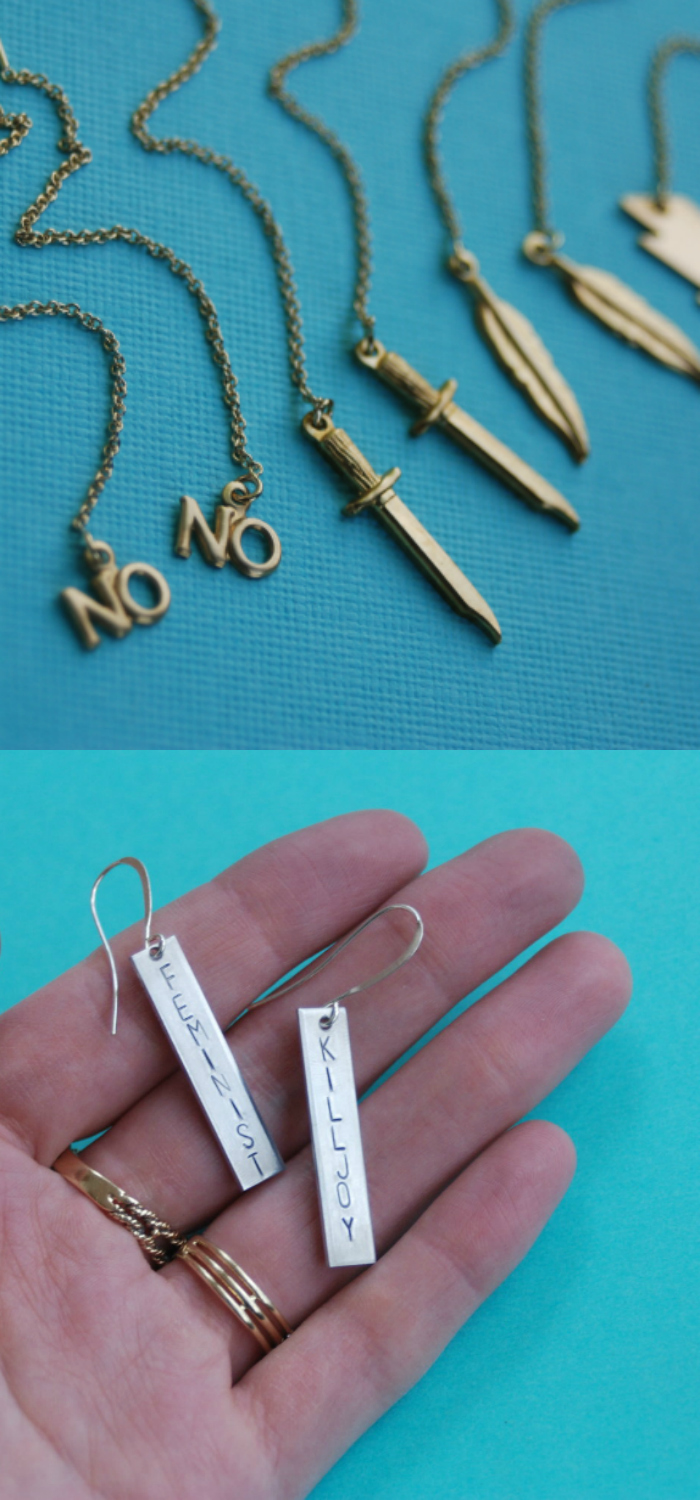 Feminist Killjoy earrings and ear threaders by Bang-Up Betty