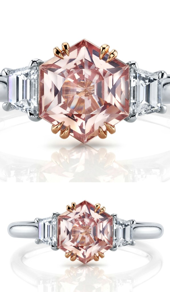 A padparadscha and diamond ring by Omi Prive. Would be a beautiful sapphire engagement ring!