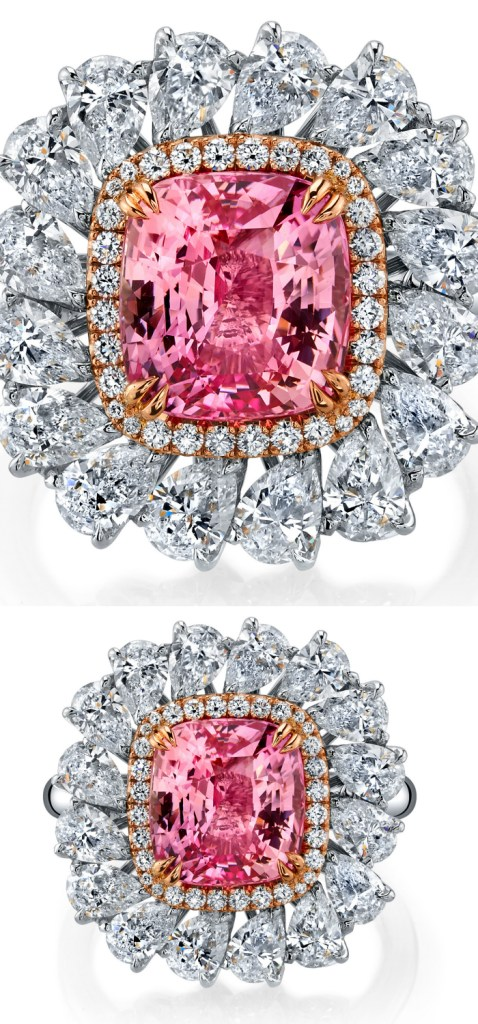 The most beautiful Omi Prive ring!! With a 5.01 carat cushion cut padparadscha sapphire and more than 2.5 cts of diamonds.