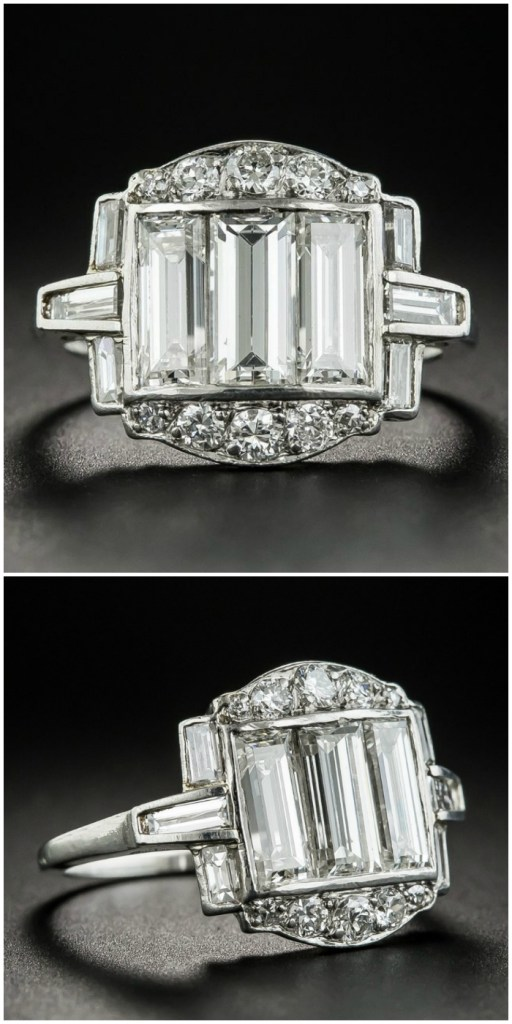 A beautiful antique Art Deco ring with diamond baguettes. This would be such a cool engagement ring! From Lang Antiques.