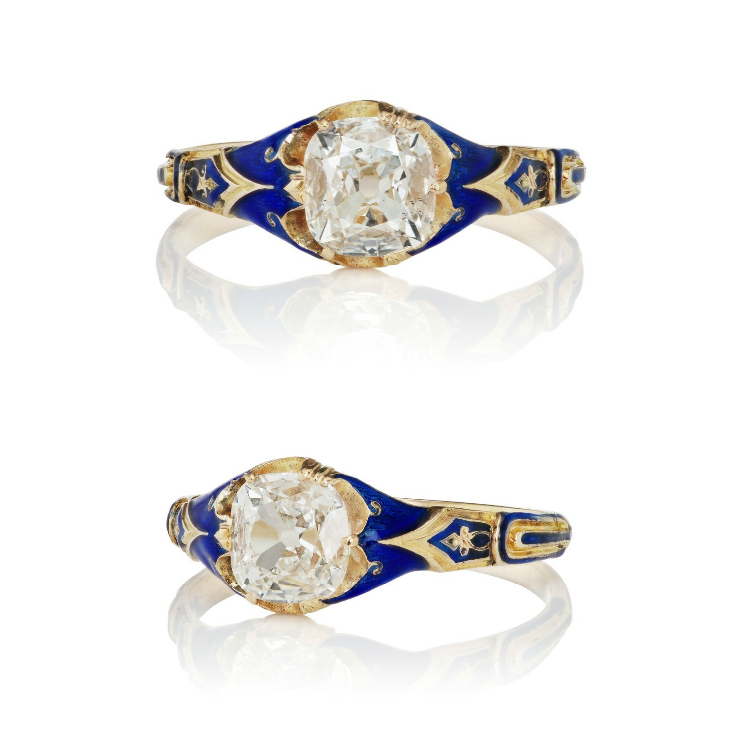 A lovely Victorian engagement ring with diamond and enamel, circa 1890! From Victor Barbone.