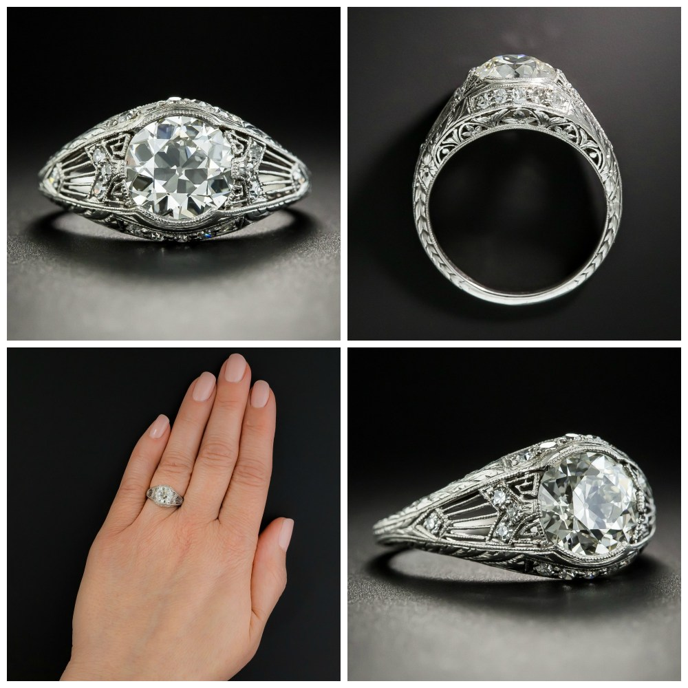 A vintage engagement ring from 1920. With a 1.78 ct diamond, by Granat Bros. For sale by Lang Antiques.