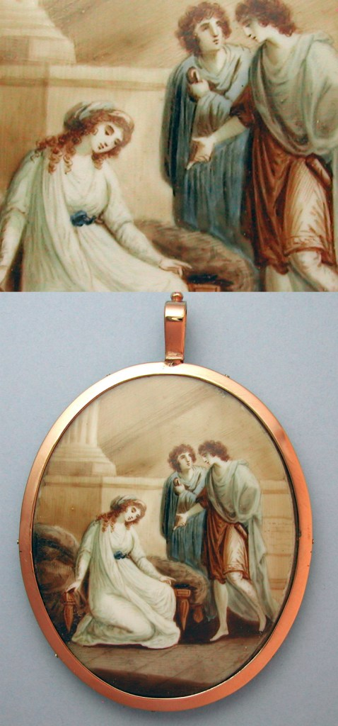 An extraordinary antique portrait miniature. From Sarah Nehama, to be shown in Dear to Memory, an online antique jewelry lecture series.