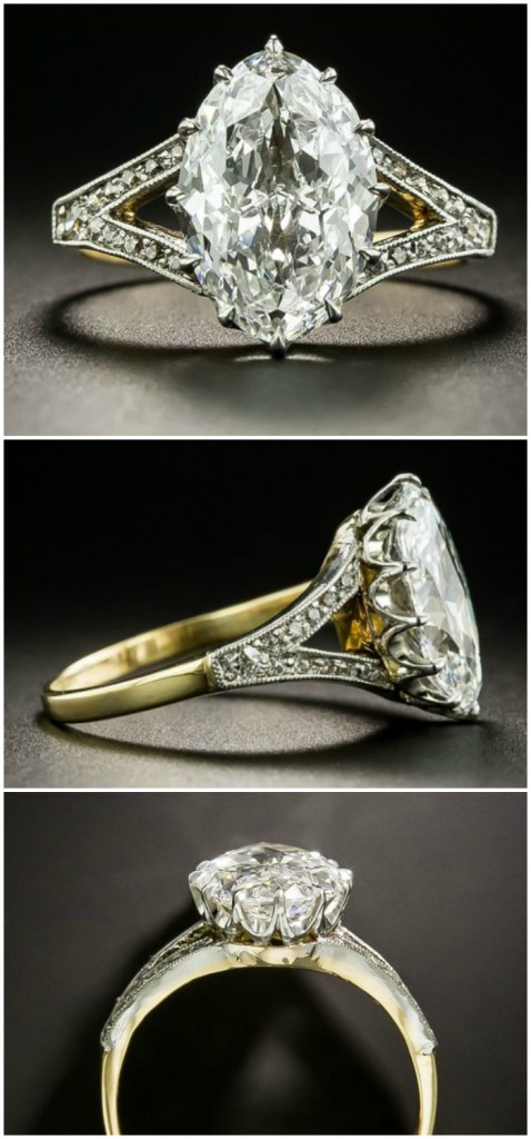 I'm in love with this Edwardian era antique 2.86 carat moval diamond ring! From Lang Antiques.