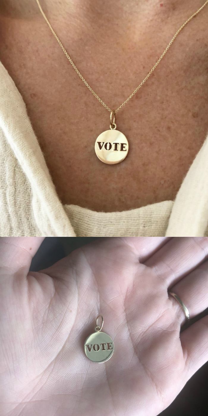 VOTE jewelry; gold vote charm from Workhorse jewelry.