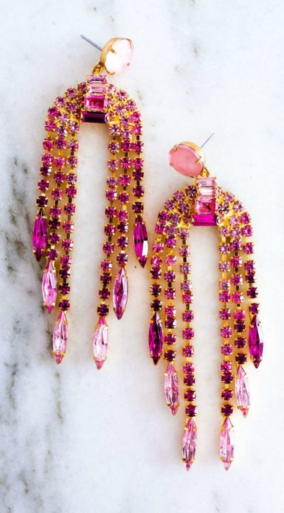 The pink Dorothy earrings by Elizabeth Cole Jewelry. Such spectacular pink statement earrings!