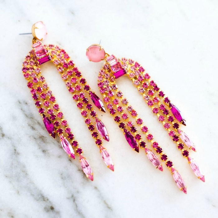 The pink Dortothy earrings by Elizabeth Cole Jewelry.