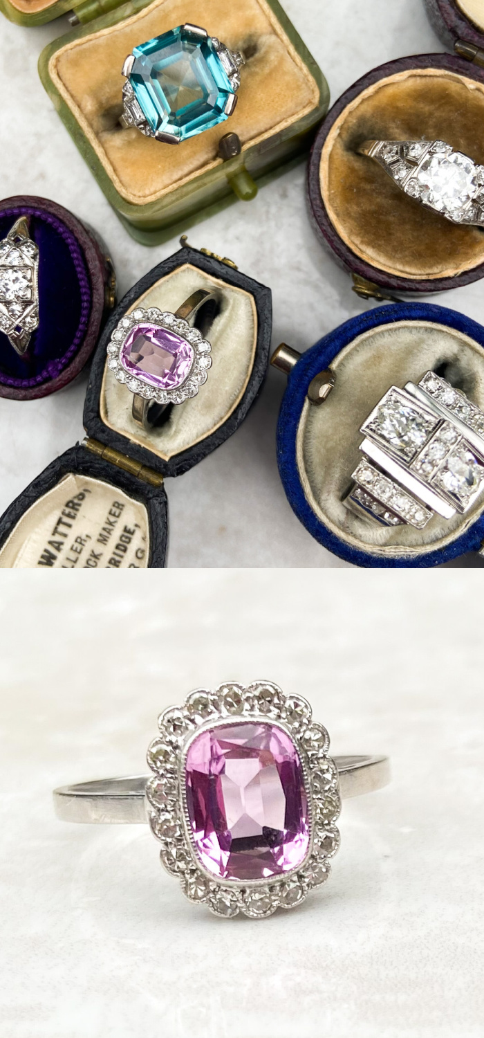 A beautiful antique Art Deco pink topaz ring. From Audrey & Wolf vintage jewelry.