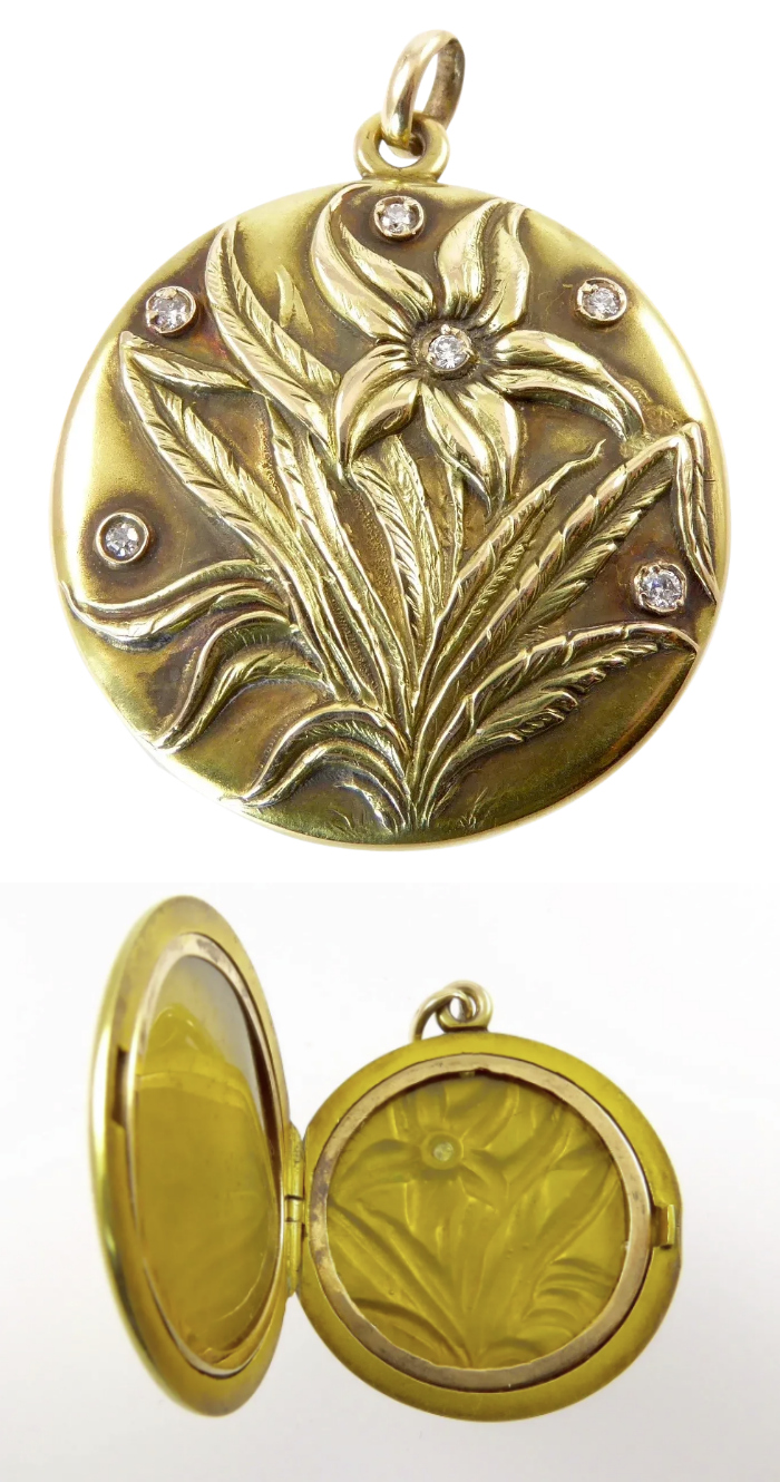 A beautiful antique gold locket from the Art Nouveau era, witha flower and diamonds. From Lisa Kramer Vintage on Ruby Lane.