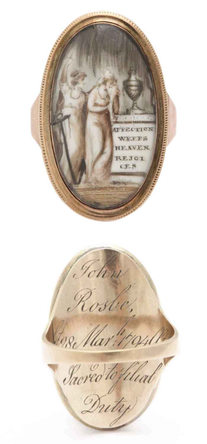 A beautiful sepia mourning ring that says 'Affection Weeps, Heaven Rejoices.' Circa 1794. From Gloirous Antique Jewelry on Ruby Lane.