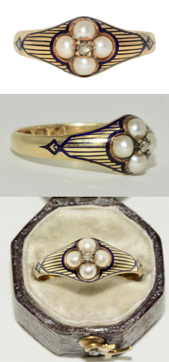 A lovely Victorian ring with blue enamel, diamond, and pearls, circa 1864. From Elizabeth Rose Antiques on Ruby Lane.