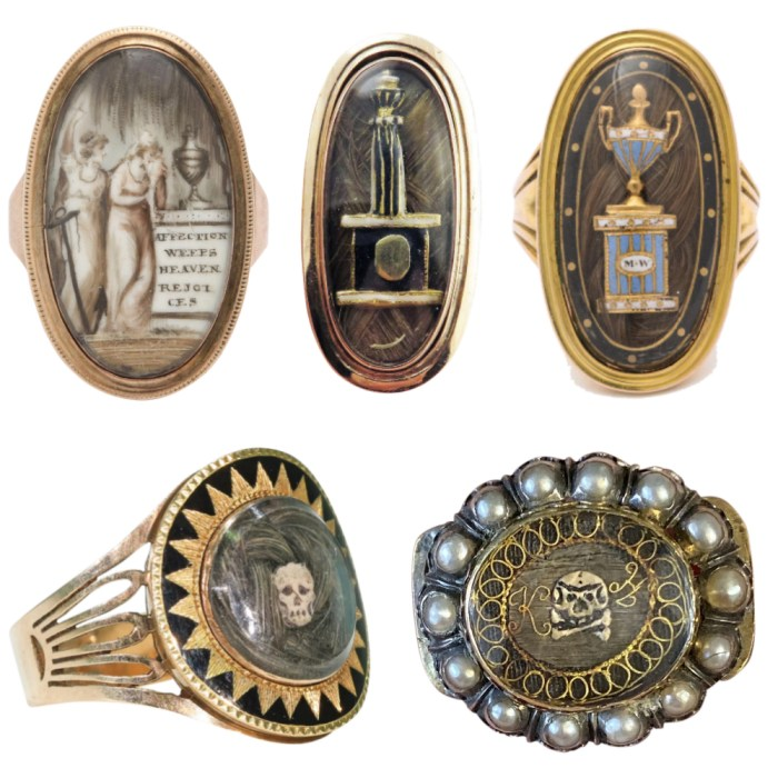 A selection of rare and exquisite mourning jewelry from sellers on Ruby Lane.
