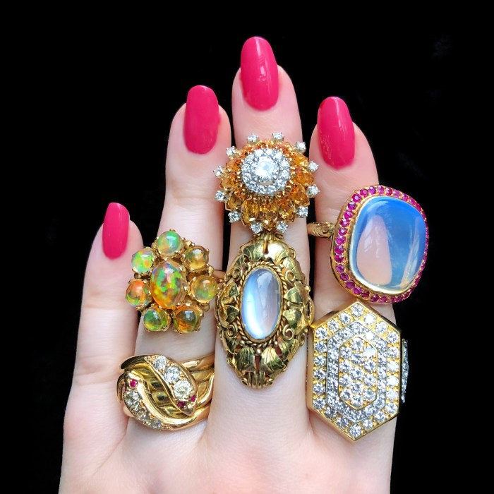 A selection of stunning antique and vintage rings from Wilson's Estate Jewelry. Diamonds, opals, moonstones, rubies and more!