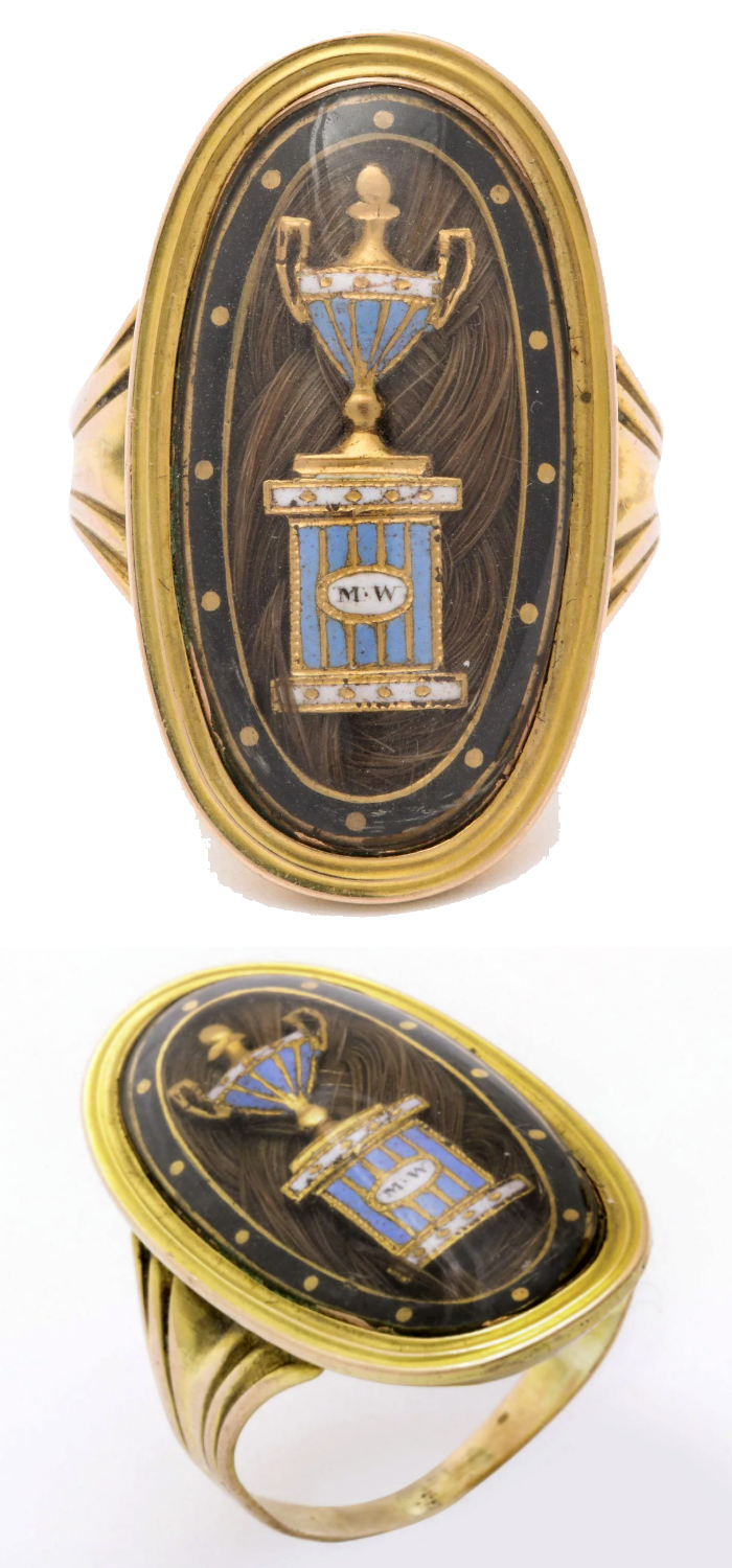 An exquisite Georgian era mourning ring with hair and urn, circa 1792. From Glorious Antique Jewelry on Ruby Lane.
