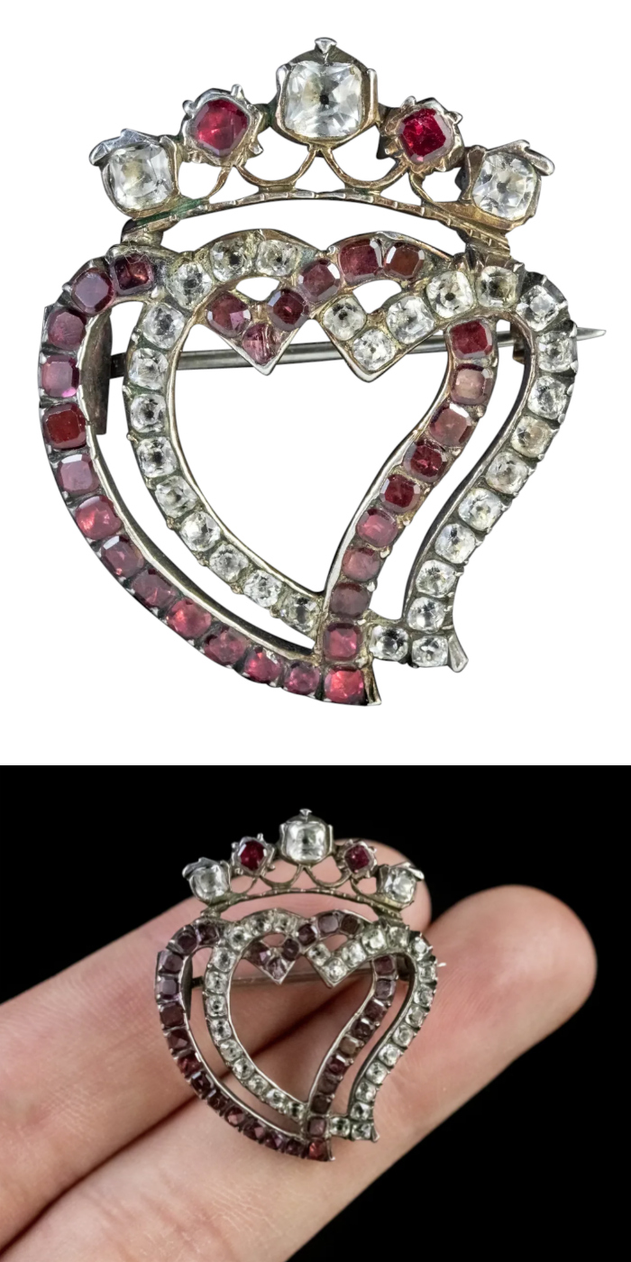 Antique Georgian era paste Witch's Heart Luckenbooth brooch, circa 1800. From Antique Jewellery Group on Ruby Lane.