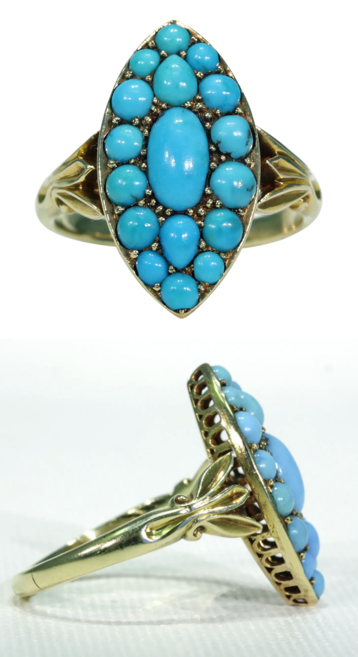 Antique Victorian turquoise ring; Persian turquoise navette ring. From Victoria Sterling on Ruby Lane.