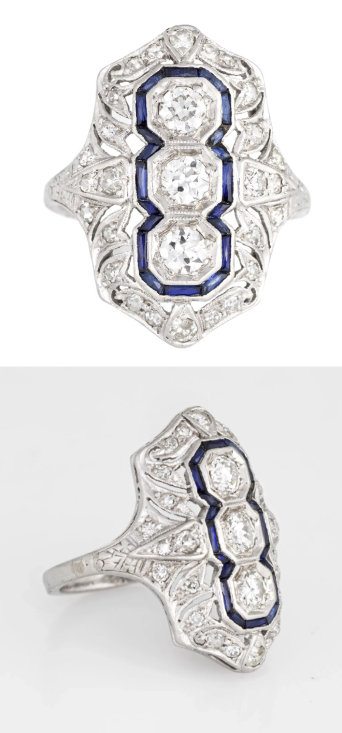 Antique sapphire ring; classic Art Deco dinner ring. From Sophie Jane on Ruby Lane.
