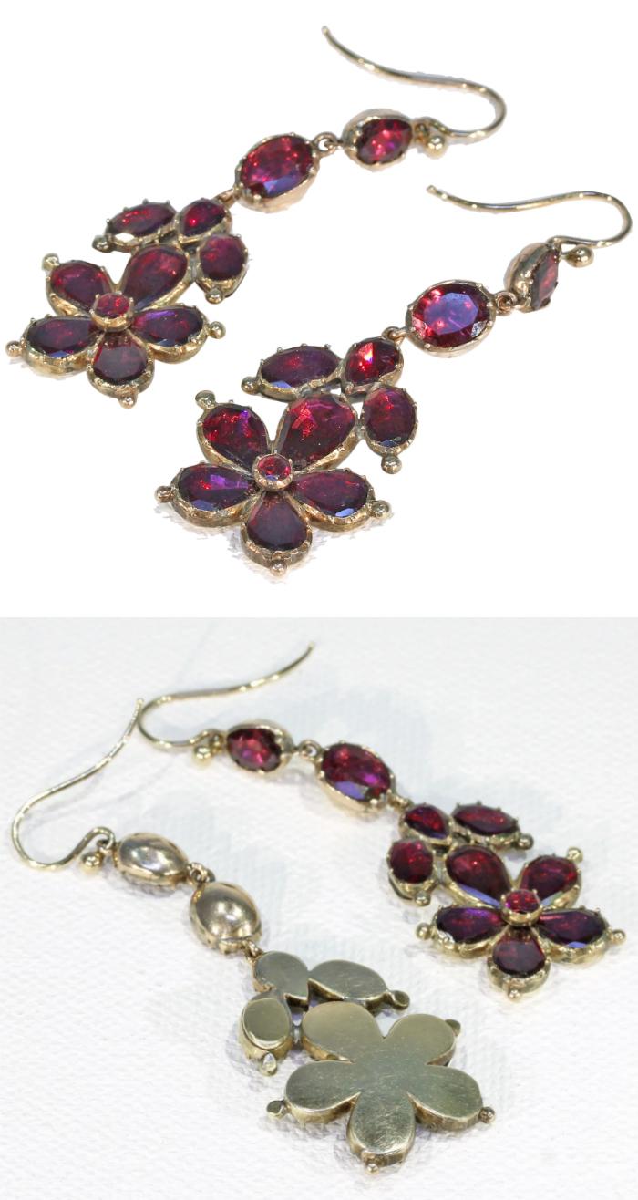 Beautiful antique Georgian era flat cut garnet earrings! From Victoria Sterling on Ruby Lane.