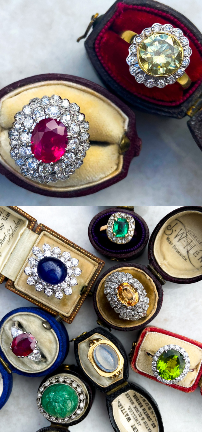 Beautiful colored gemstone cocktail rings from Audry & Wolf vintage jewelry. I love those antique rings boxes, too!