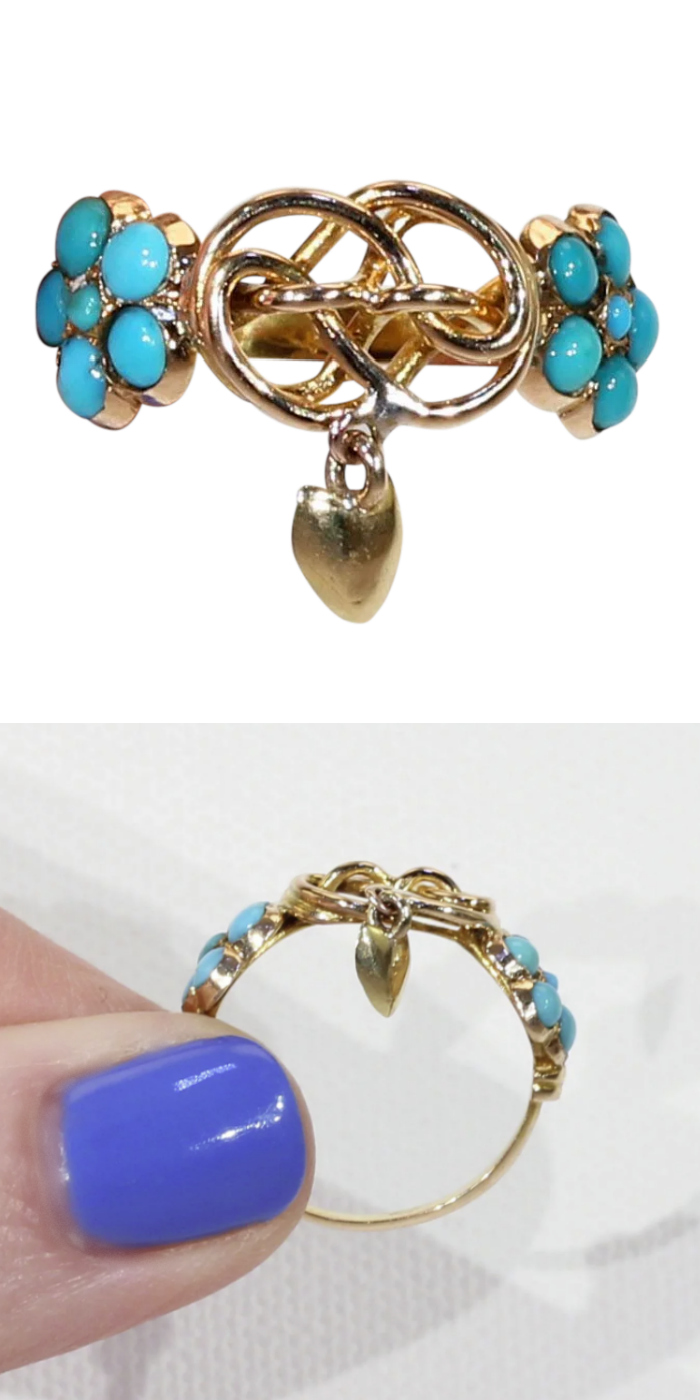 Victorian era love knot dangle ring in gold with turquoise. From Victoria Sterling on Ruby Lane.