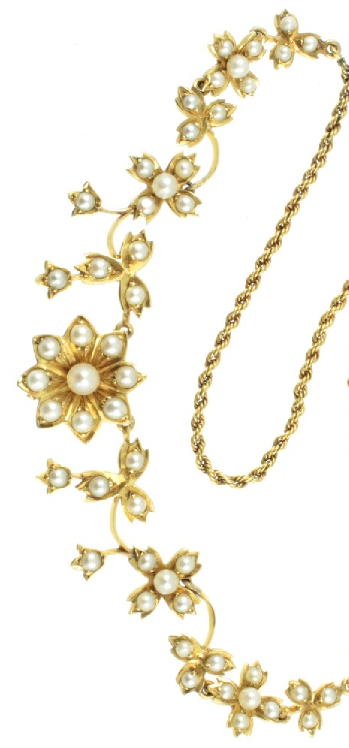 A beautiful gold and seed pearl flower necklace, Edwardian ear. From Carus Jewellery.