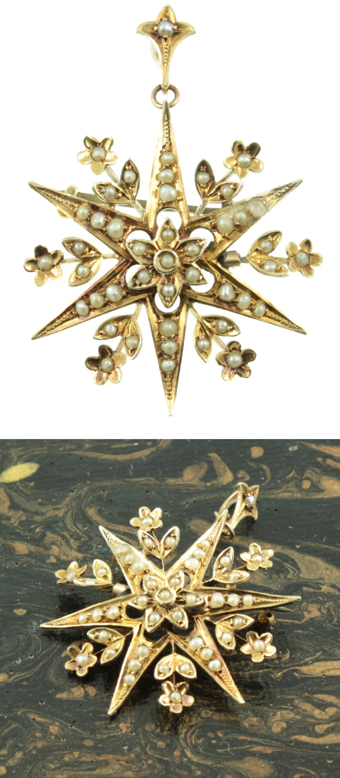 Antique Edwardian era star pendant with pearls. From Carus Jewellery.