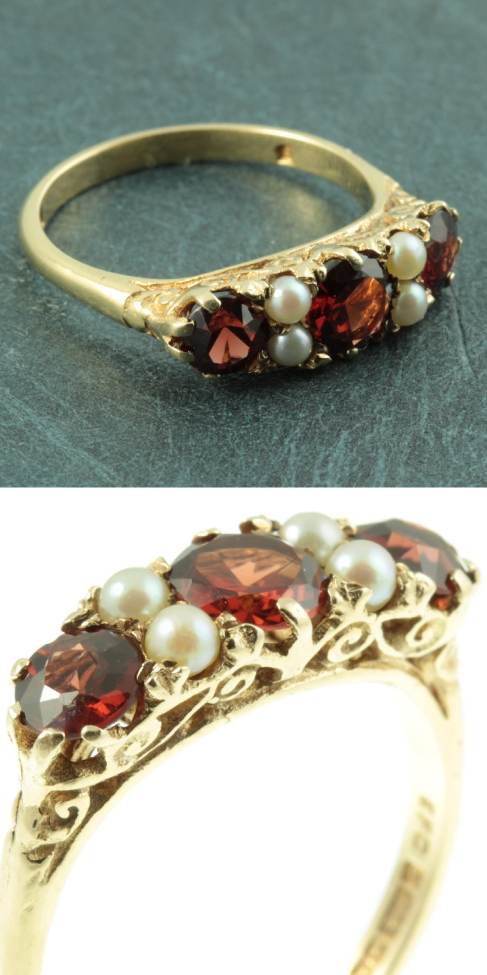 Antique Victorian era garnet and diamond ring from Carus Jewellery.