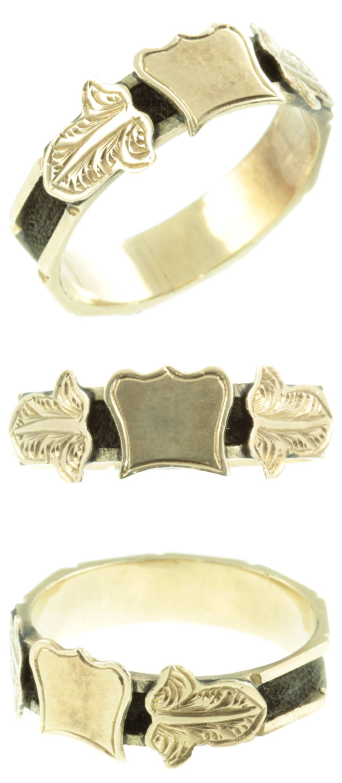 Antique Victorian era mourning ring in gold with hair detail. From Carus Jewellery.