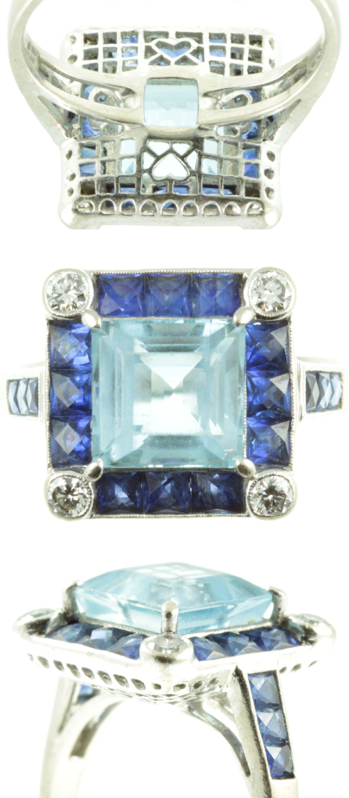 I love the details of this remarkable ring! Sapphies, diamonds, and a princess cut aquamarine. From Carus Jewellery.