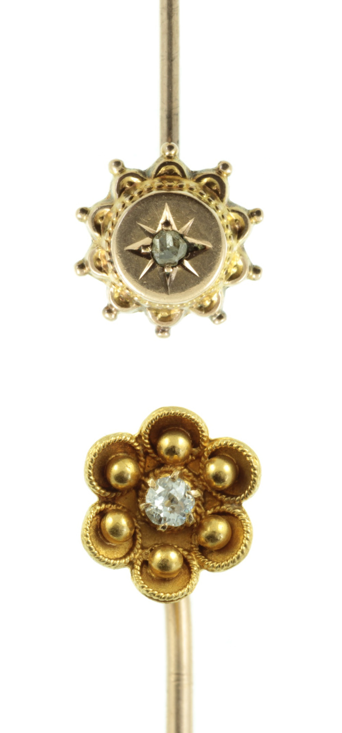 Two Victorian era gold and diamond tie pins or stickpins from Carus Jewellery.