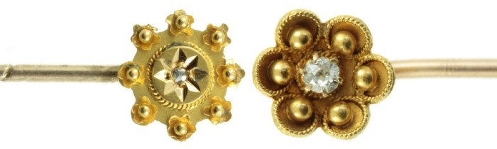 Two beautiful antique tie pins or stickpins from Carus Jewellery. Gold with diamonds.