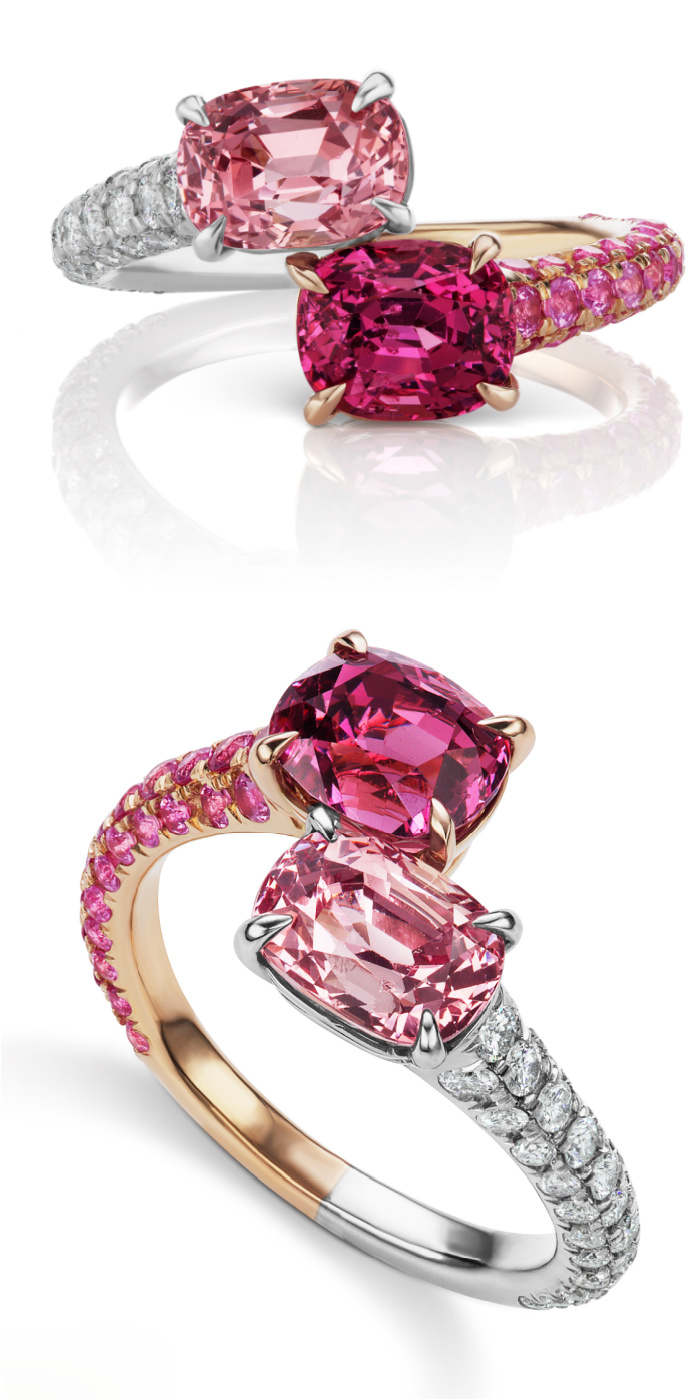 A beautiful pink Toi et Moi style ring by Alexia Connellan! Pink and magenta spinel with diamonds and pink sapphires in rose gold and platinum.