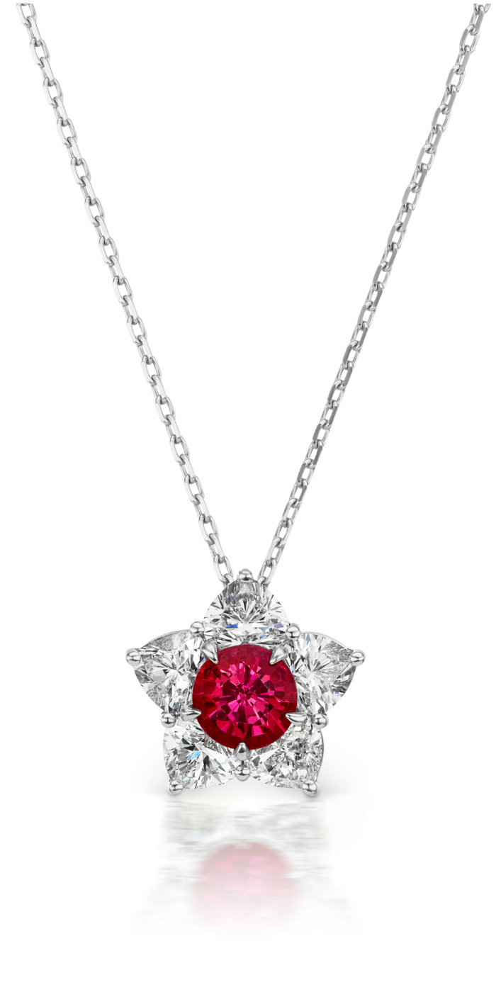 The Queen of Hearts necklace by Alexia Connellan. Burmese ruby with diamond hearts forming a star.